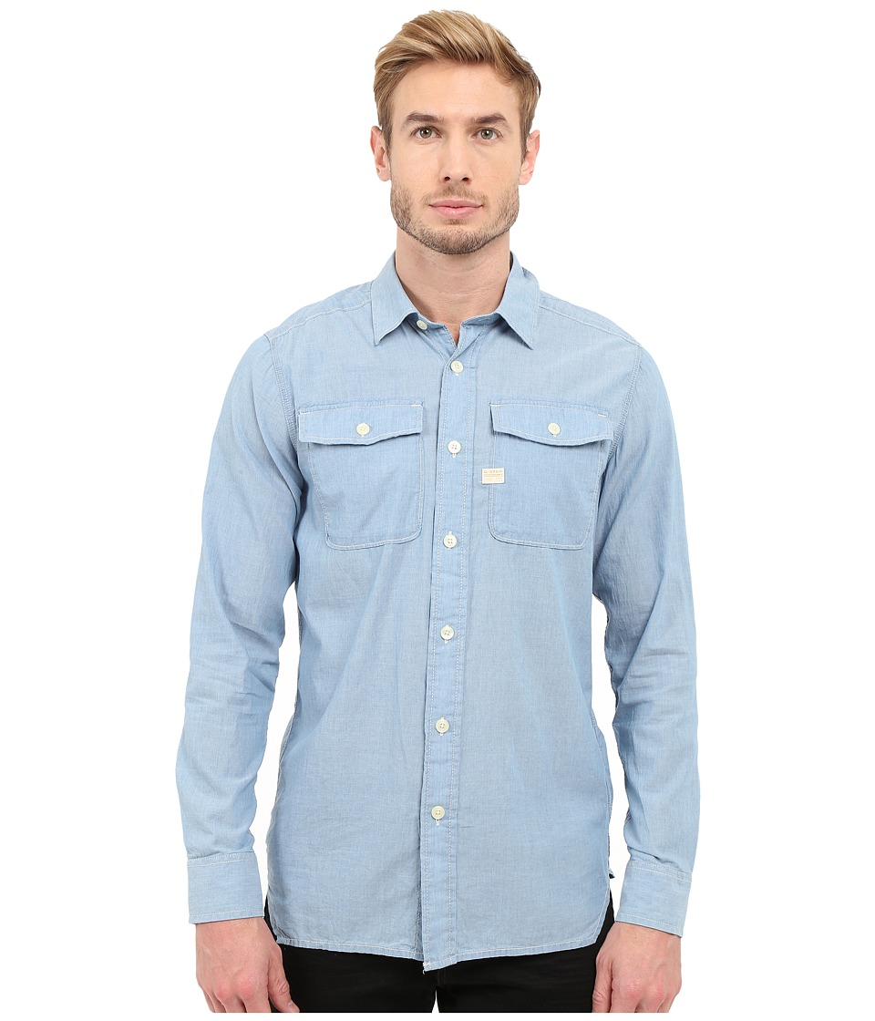 G-Star - Landoh Army Shirt Long Sleeve Shirt in Lightweight Torg Chambray (Dark Bleached) Men's Long Sleeve Button Up