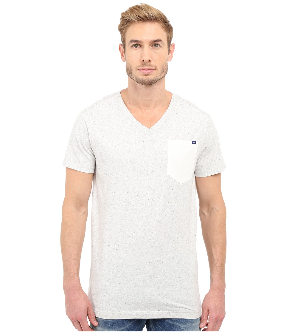 G-Star - Riban Short Sleeve V-Neck Pocket Tee in Premium Compact Jersey (Milk Heather) Men's Short Sleeve Pullover