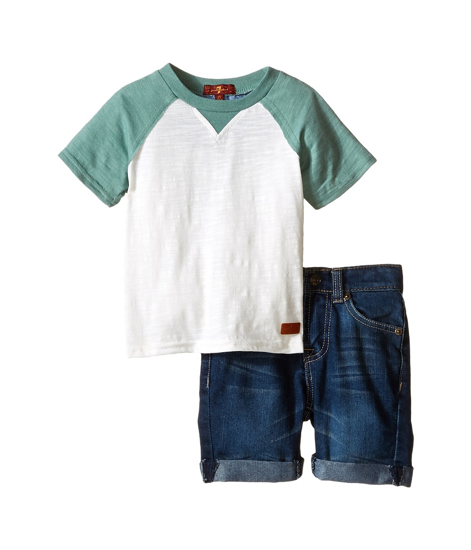 7 For All Mankind Kids - Five-Pocket Roll Cuff Bermuda Denim Shorts and Baseball T-Shirt (Toddler) (Trellis) Boy
