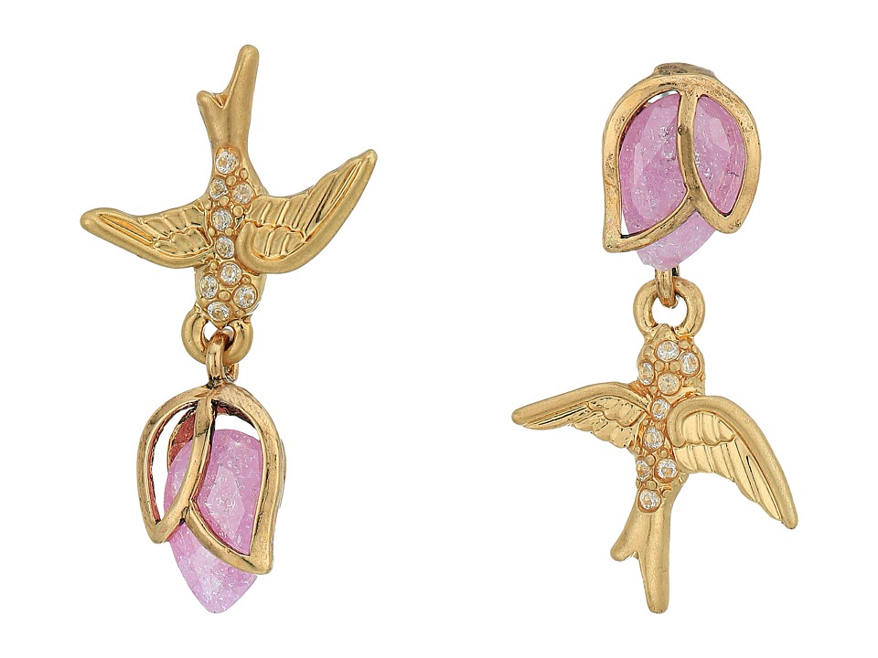Betsey Johnson - Bird Non-Matching CZ Stud Earrings (Pink) Earring
