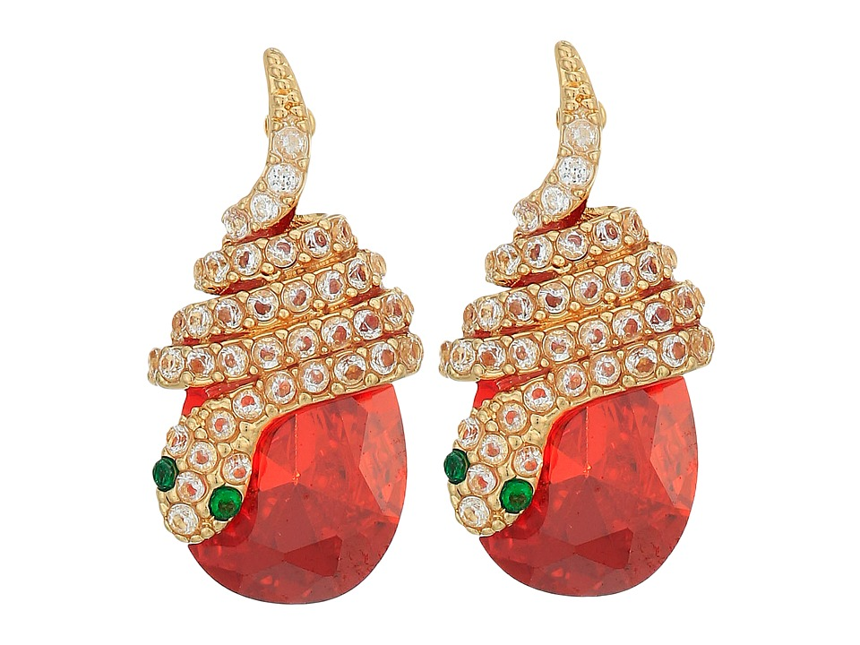 Betsey Johnson - Snake Wrap CZ Stud Earrings (Orange) Earring