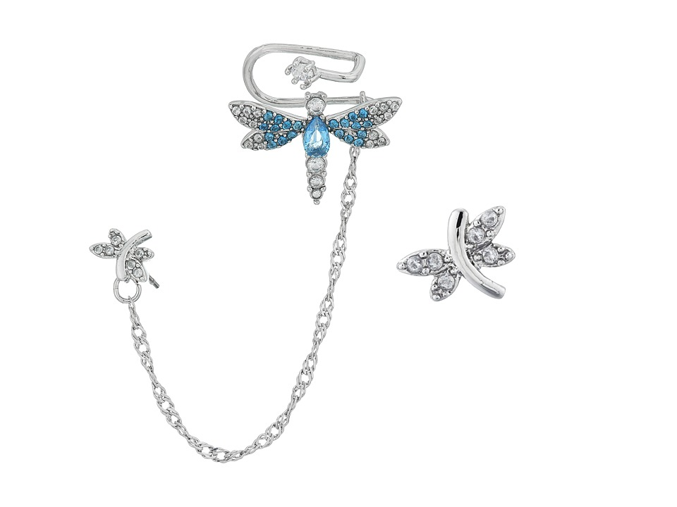 Betsey Johnson - Dragonfly CZ Ear Cuff Set (Blue) Earring