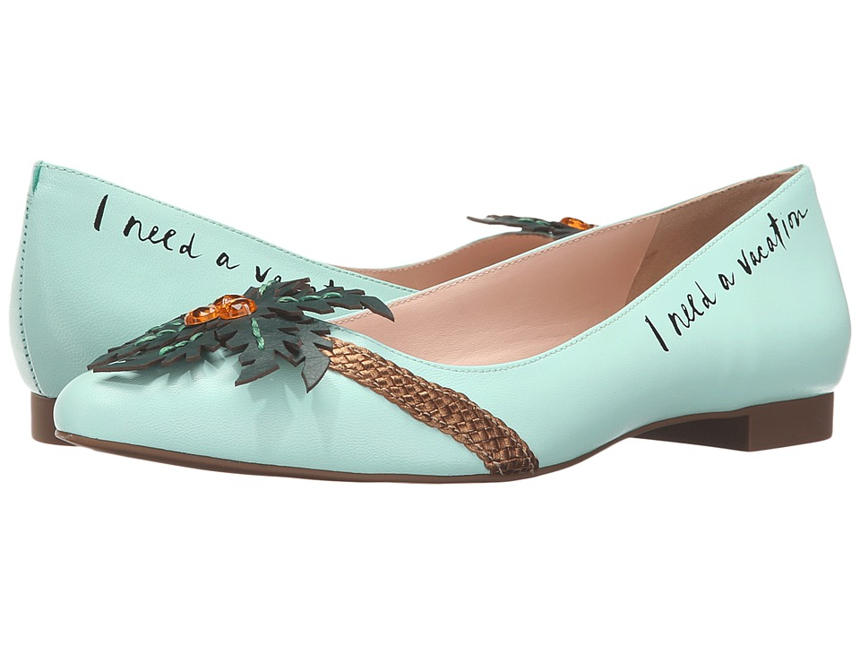 Kate Spade New York Evalina (Carribean Sky/Bronze Metallic Nappa/Green Vacchetta) Women