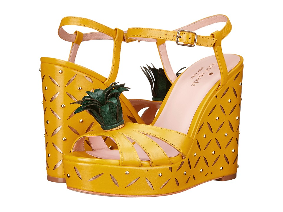 Kate Spade New York - Dominica (Dark Yellow Vacchetta/Dark Green Vacchetta) Women's Shoes
