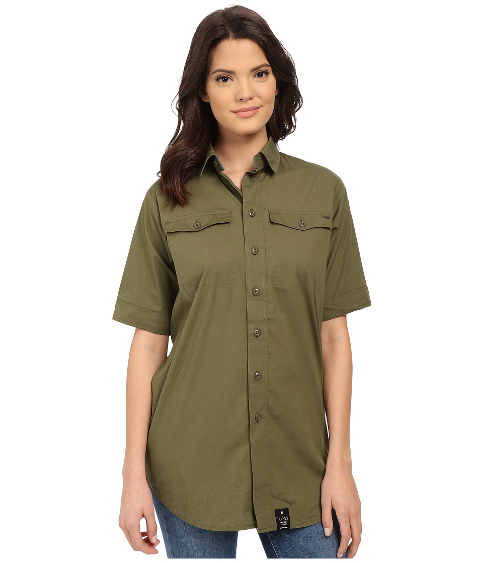 G-Star - Rovic Long Boyfriend Shirt in Office Stretch Poplin (Sage) Women's Clothing