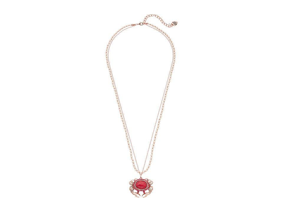 Betsey Johnson - Betsey's Boat House Crab Pendant Necklace (Pink) Necklace