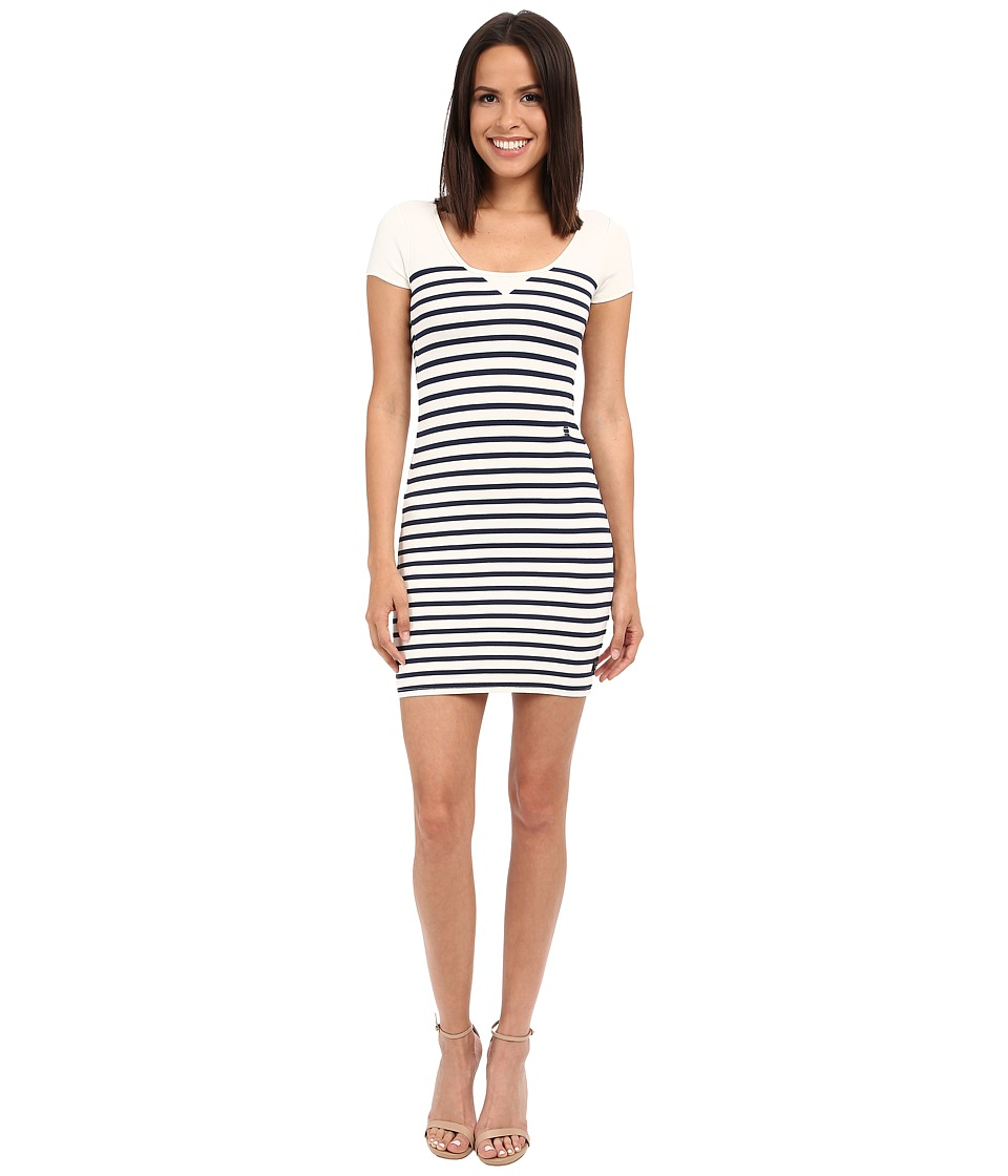 G-Star - Ultimate Stretch Short Sleeve Dress in Breton Stripe (Milk/Sapphire Blue) Women's Dress