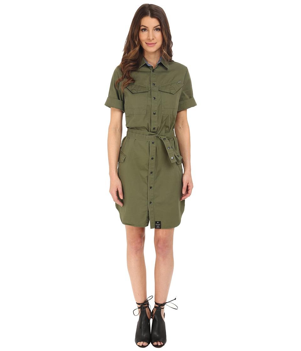 G-Star - Rovic Short Sleeve Shirtdress in Noohn Twill (Sage) Women's Dress