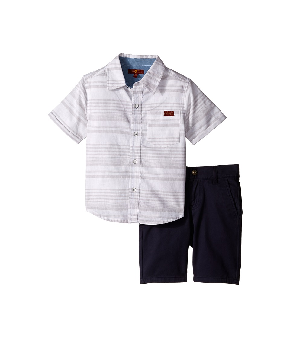 7 For All Mankind Kids - Two-Pocket Classic Twill Shorts and Short Sleeve Plaid Button Down Shirt (Toddler) (Grey Stripe) Boy's Active Sets