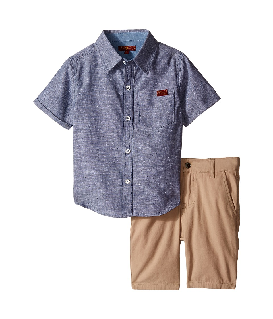 7 For All Mankind Kids - Two-Pocket Classic Twill Shorts and Short Sleeve Plaid Button Down Shirt (Toddler) (Heather Vintage Indigo) Boy's Active Sets