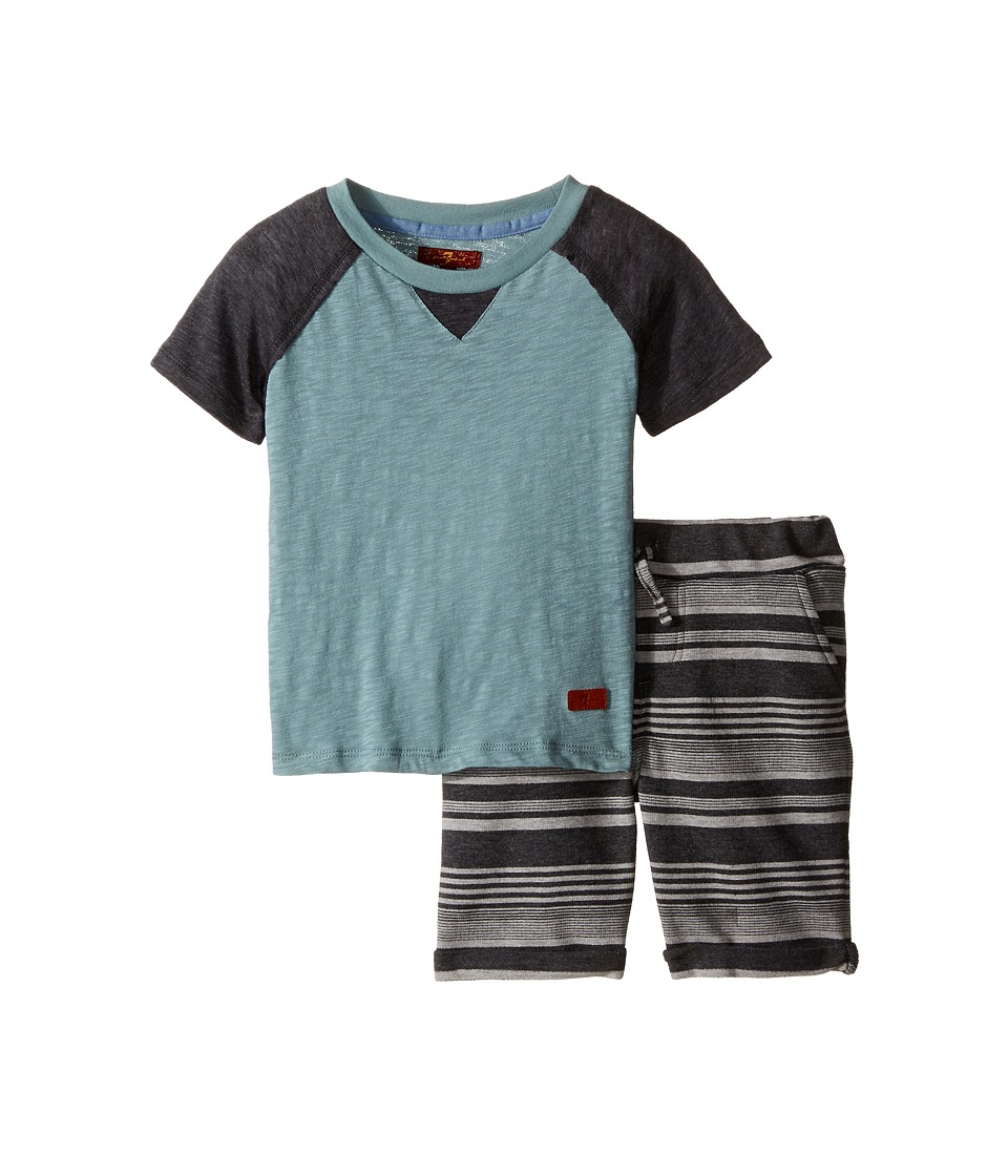 7 For All Mankind Kids - Four-Pocket Roll Cuff French Terry Athletic Shorts and Baseball T-Shirt (Toddler) (Heather Grey) Boy's Active Sets