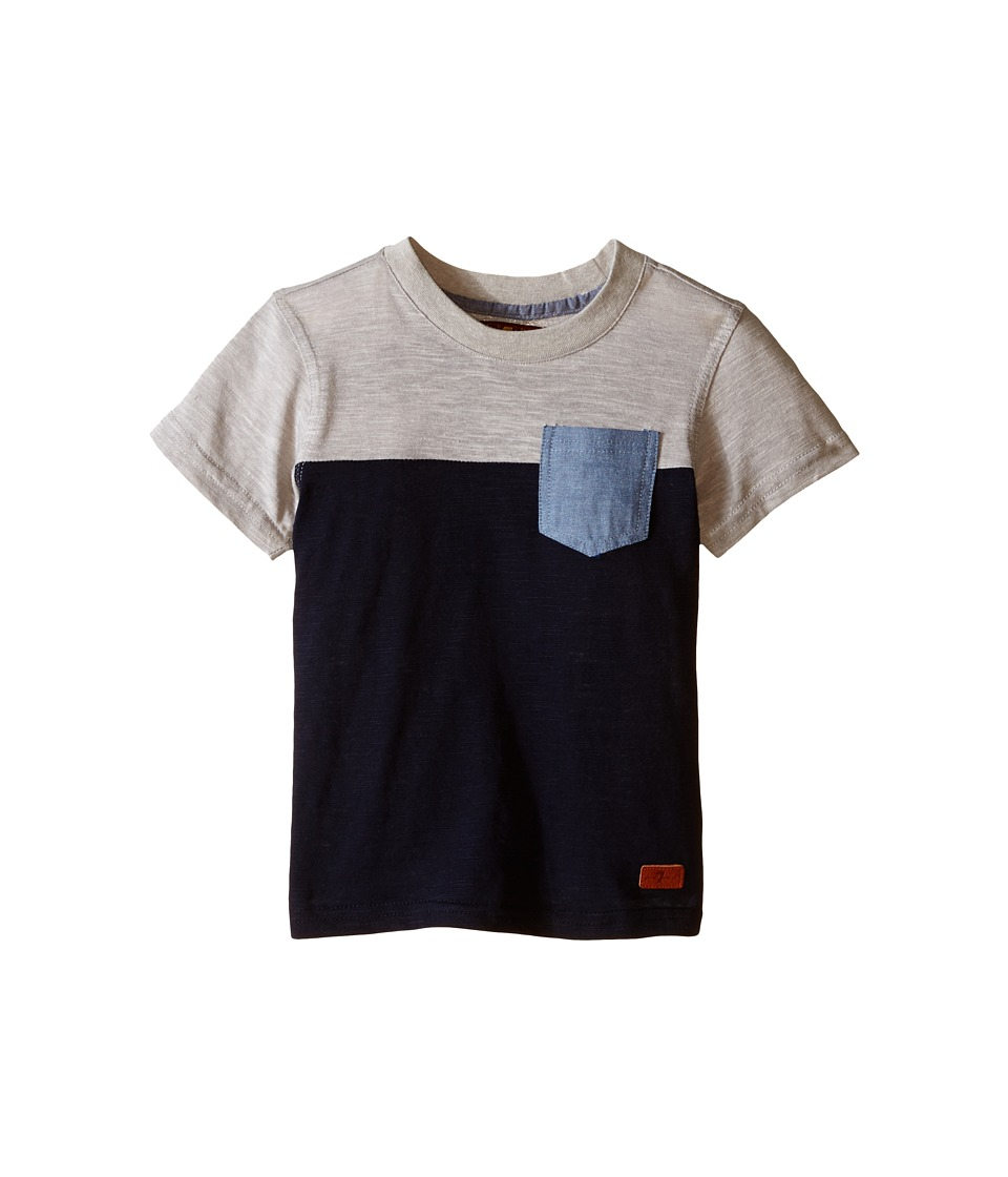 7 For All Mankind Kids - Short Sleeve Crew Neck Slub Jersey Color Block Pocket T-Shirt (Little Kids/Big Kids) (Heather Grey/Night Sky) Boy's T Shirt