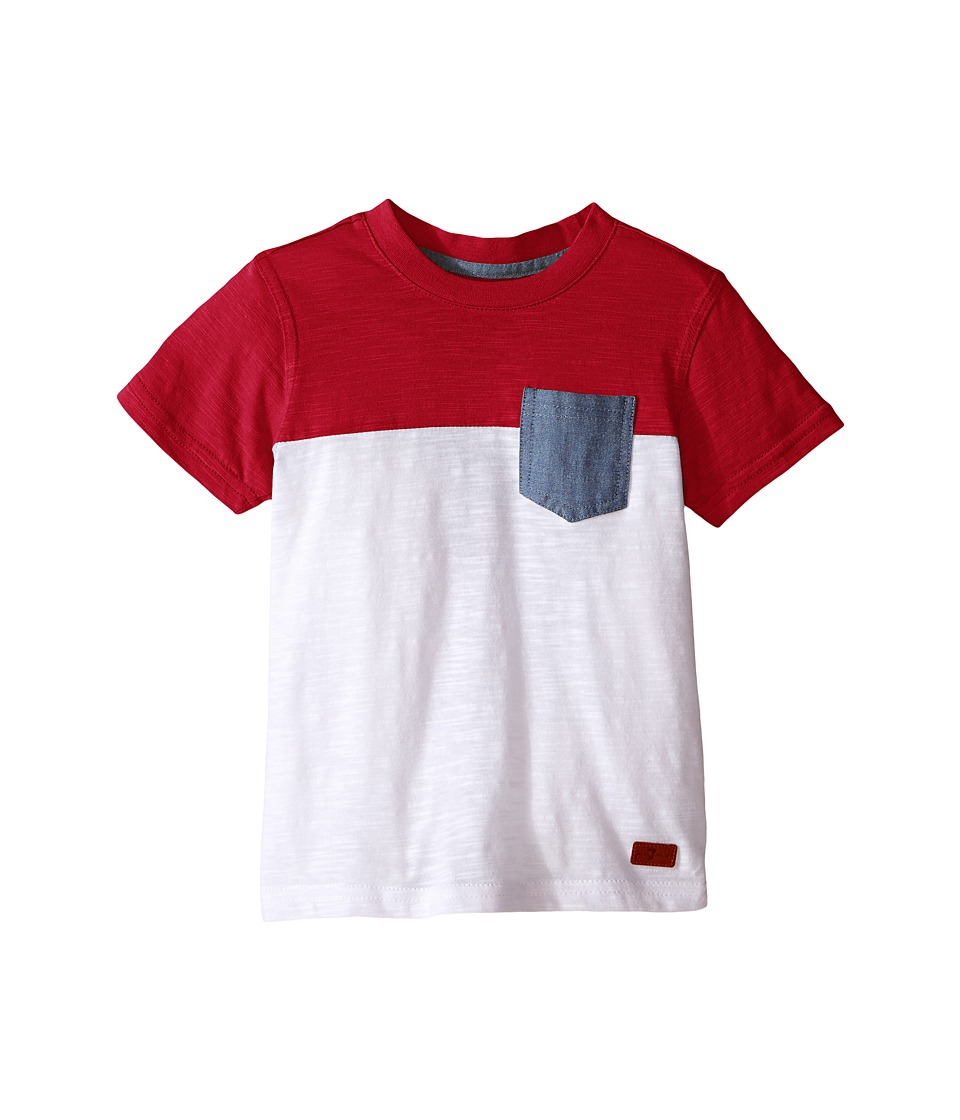 7 For All Mankind Kids - Short Sleeve Crew Neck Slub Jersey Color Block Pocket T-Shirt (Big Kids) (Red/White) Boy's T Shirt