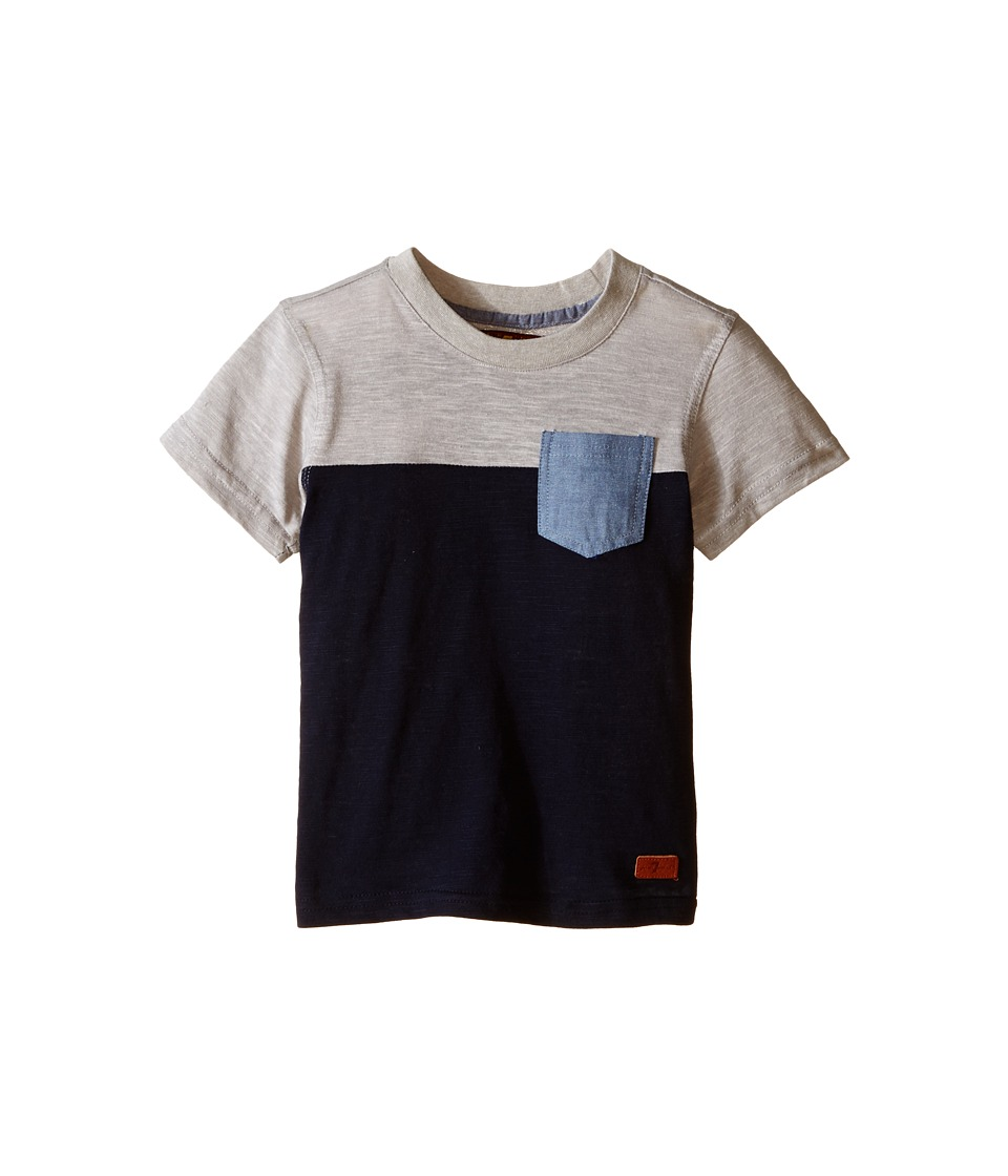 7 For All Mankind Kids - Short Sleeve Crew Neck Slub Jersey Color Block Pocket T-Shirt (Big Kids) (Heather Grey/Night Sky) Boy's T Shirt