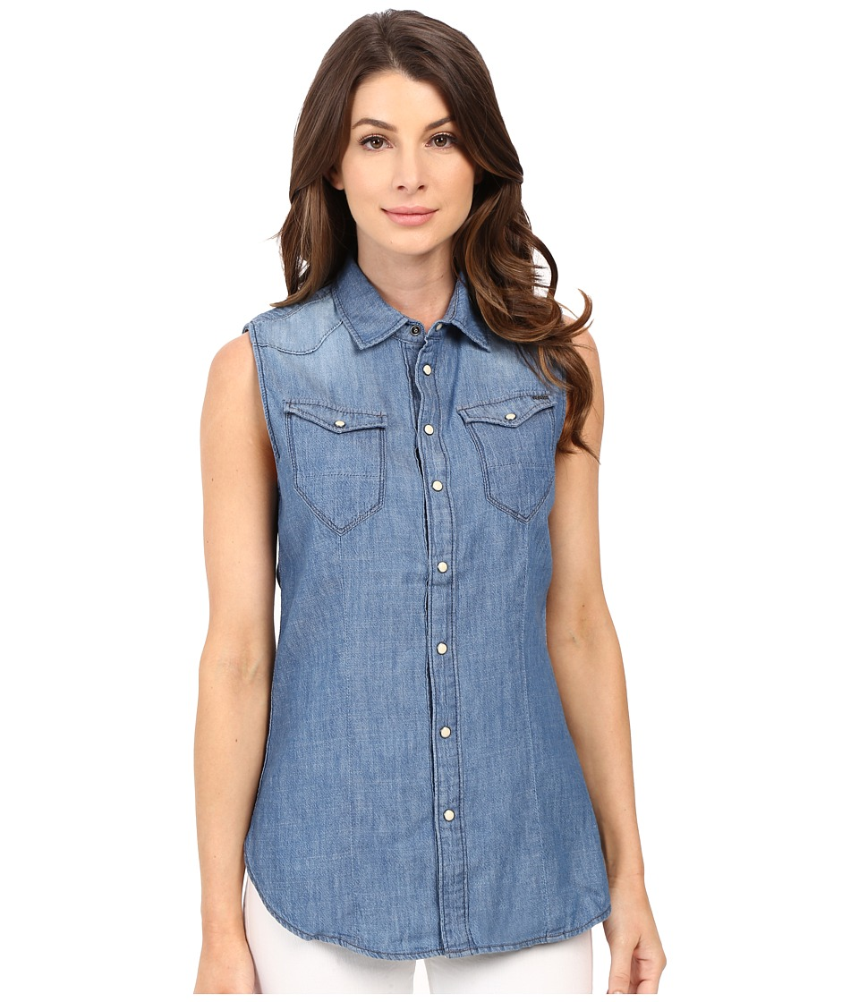 G-Star - Tacoma Straight Shirt in Lightweight Boll Denim (New Light Aged) Women's Sleeveless