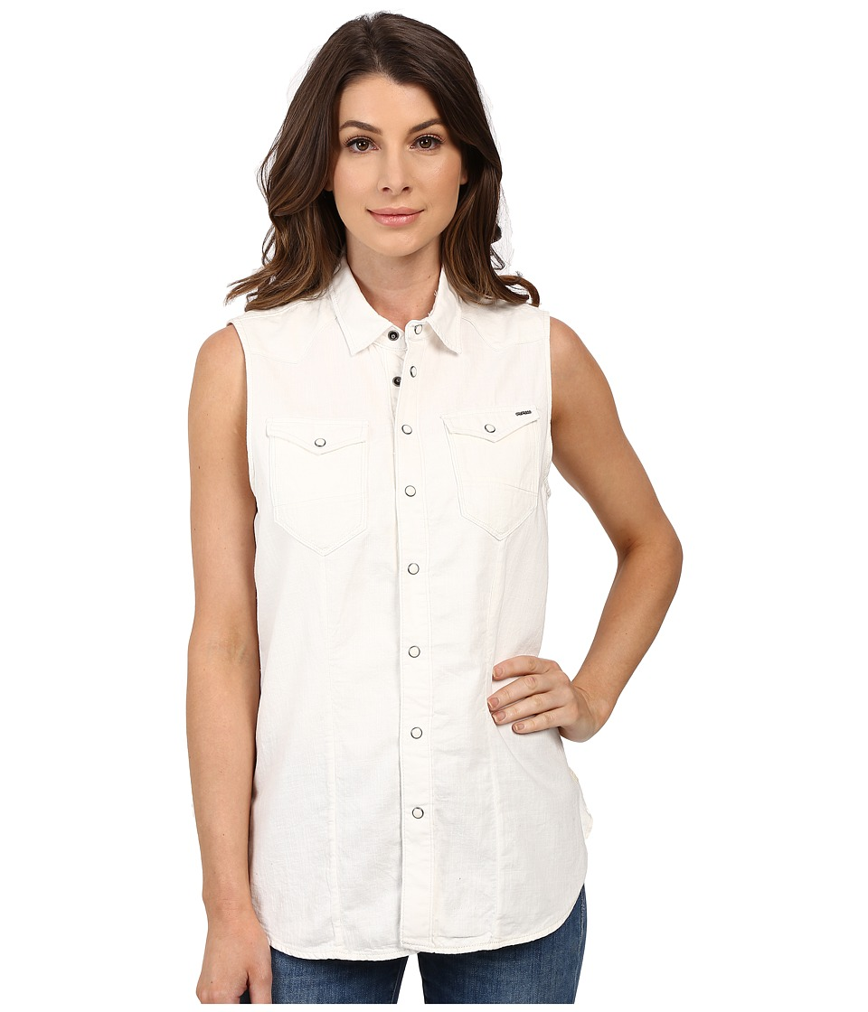 G-Star - Tacoma Straight Shirt in Lightweight White Lopp Denim (Light Aged) Women's Sleeveless