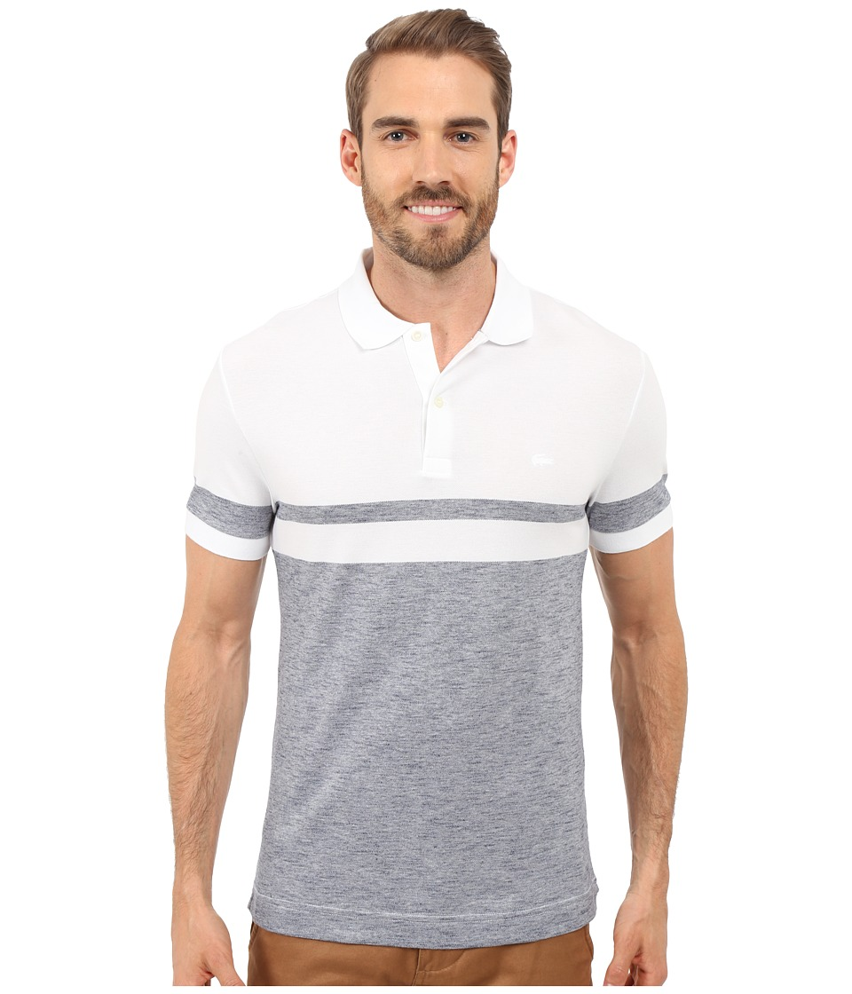 Lacoste - Heather Piqu Casual Polo (White/Mineral Mouline) Men's Clothing