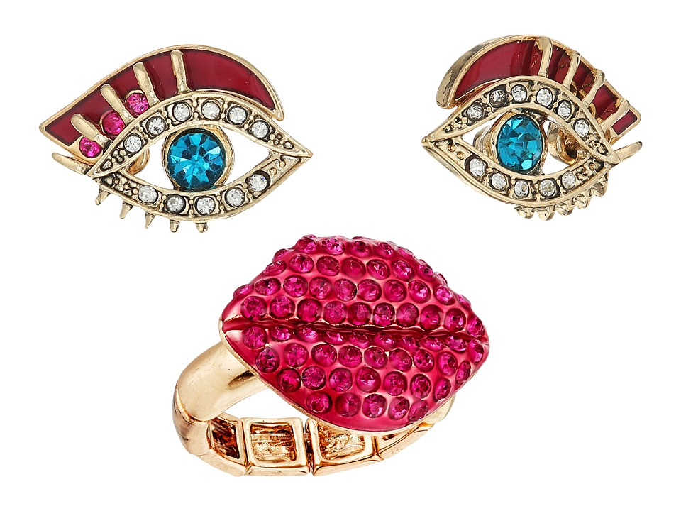 Betsey Johnson - Eye Stud Earrings and Lip Stretch Ring Set (Multi) Jewelry Sets