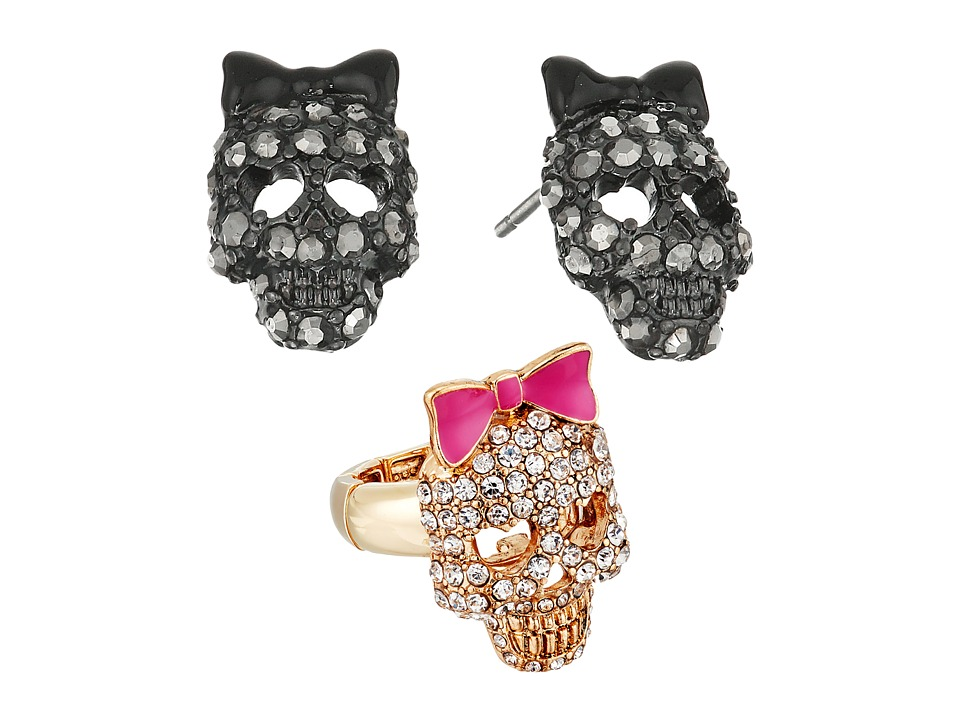 Betsey Johnson - Skull Stud Earrings and Stretch Ring Set (Crystal) Jewelry Sets
