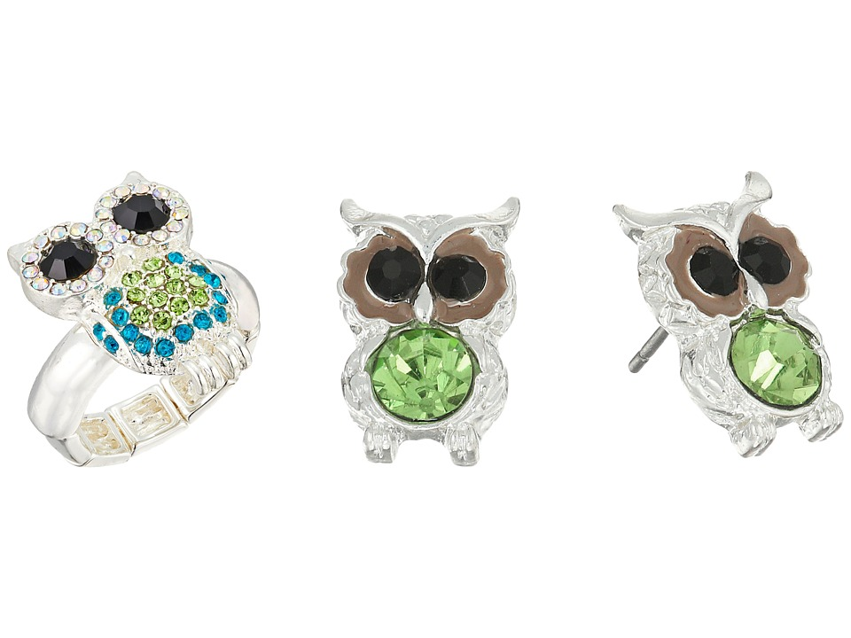 Betsey Johnson - Owl Stud Earrings and Stretch Ring Set (Green) Jewelry Sets