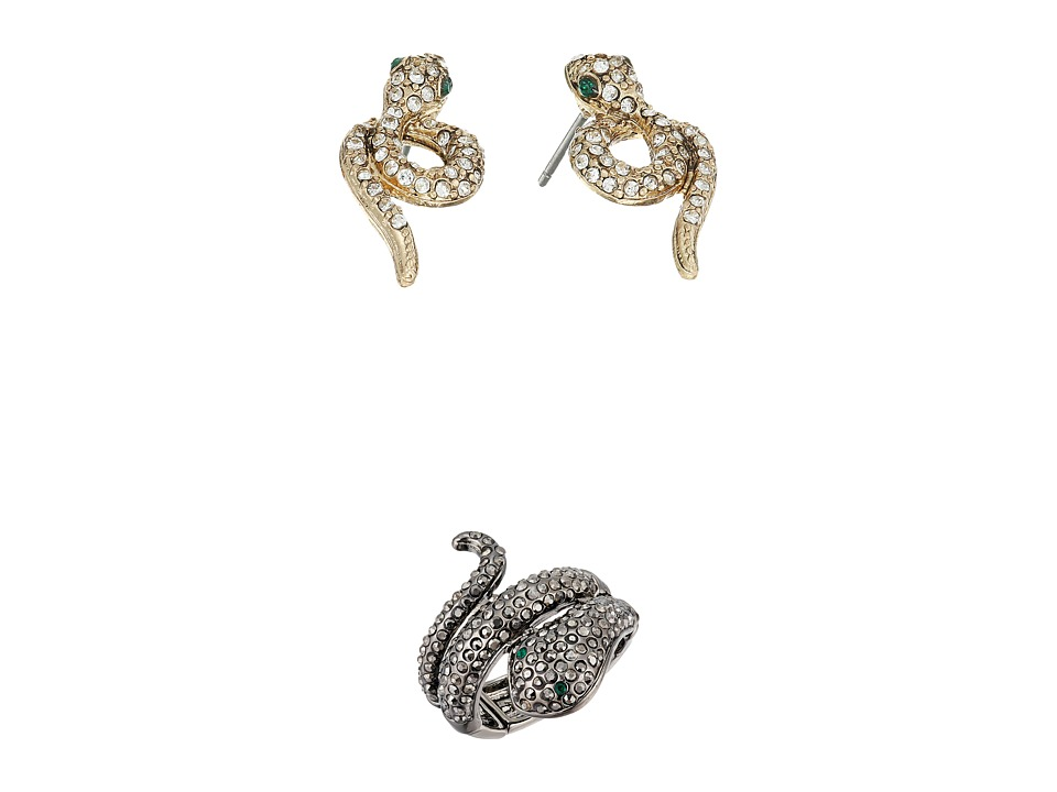 Betsey Johnson - Snake Stud Earrings and Stretch Ring Set (Crystal) Jewelry Sets
