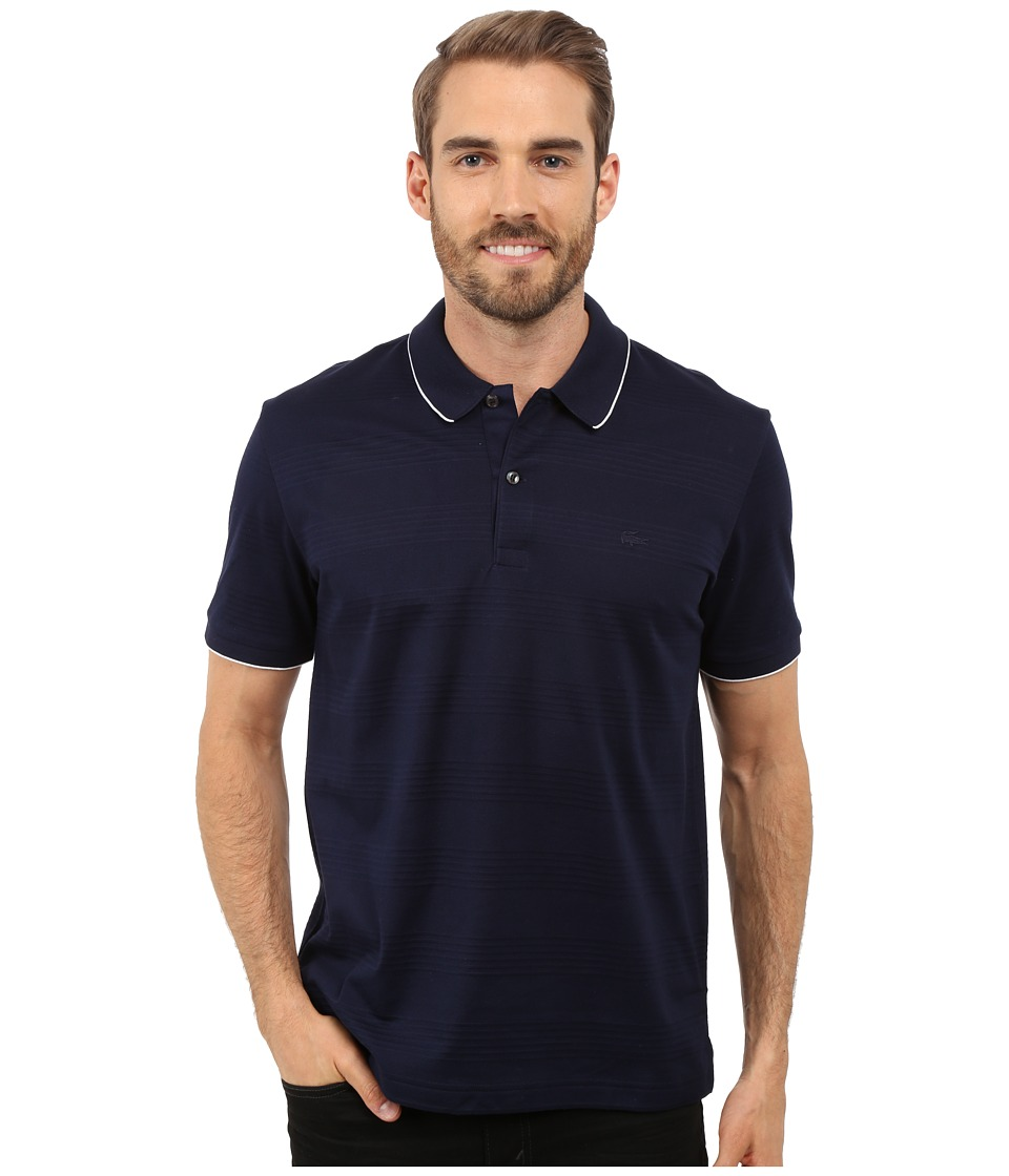 Lacoste - Mercerized Piqu Polo with Piping (Navy Blue/White) Men's Clothing
