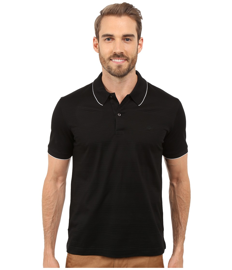 Lacoste - Mercerized Piqu Polo with Piping (Black/White) Men's Clothing