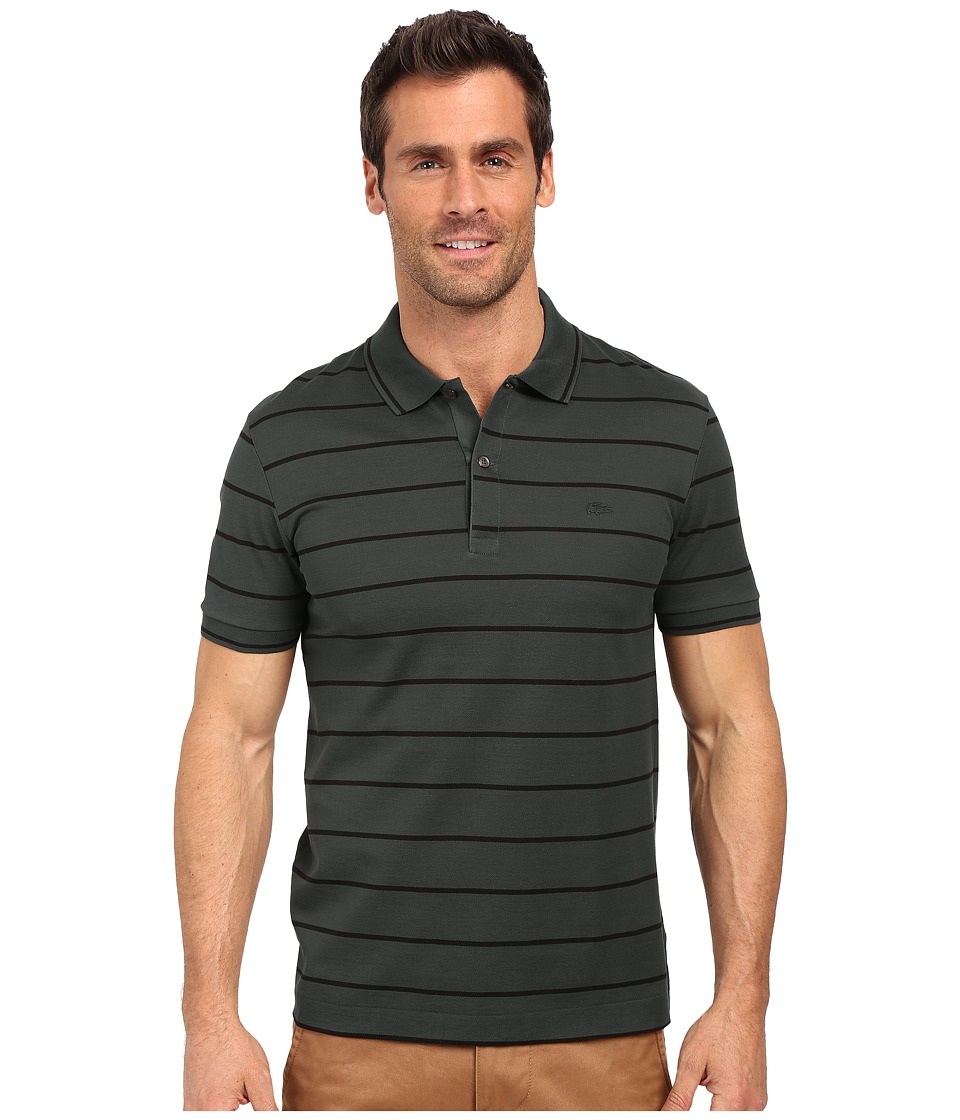 Lacoste - Slim Fit Polo in Striped Mercerized Piqu (Alligator Green/Black) Men's Short Sleeve Pullover