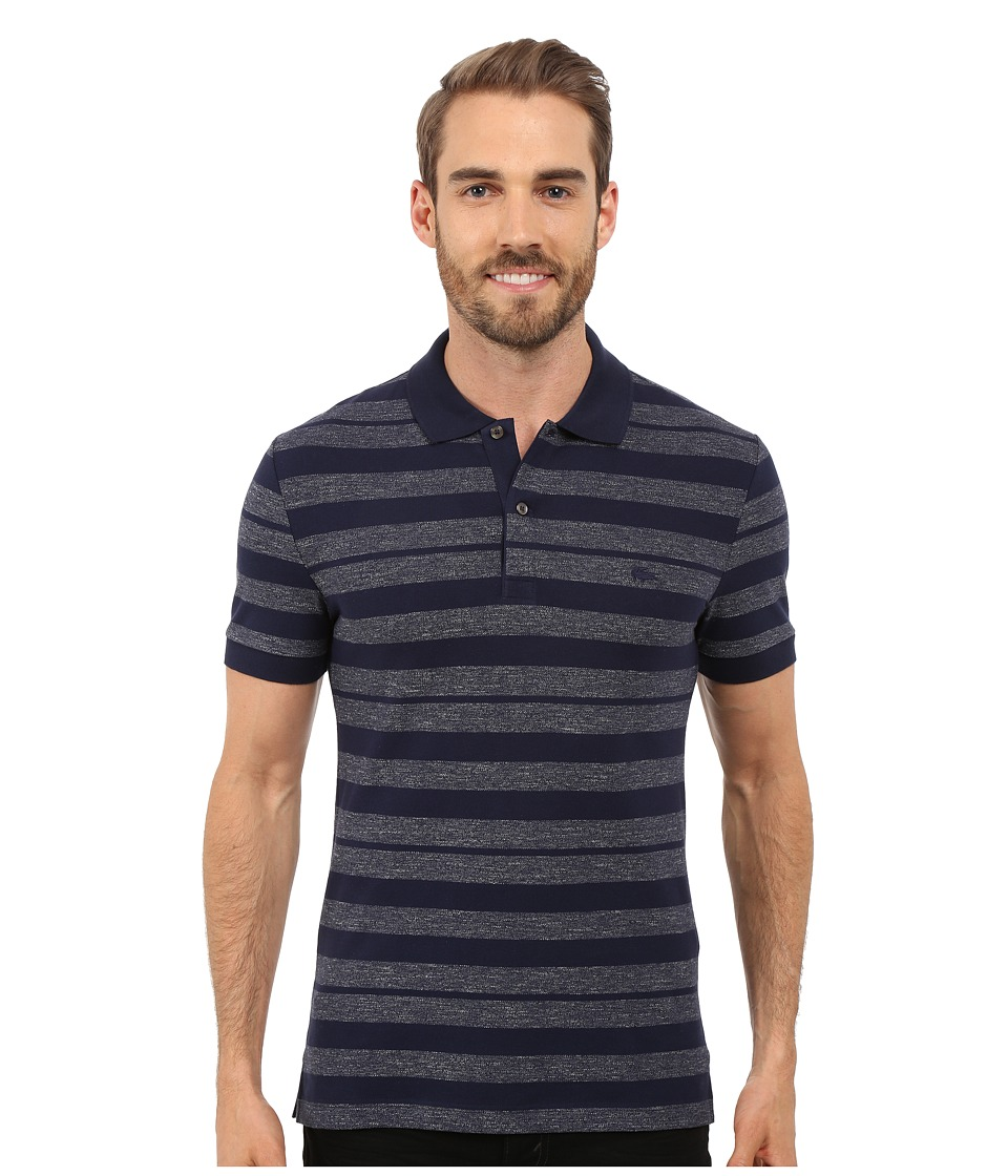 Lacoste - Heather Piqu Striped Casual Polo (Navy Blue/Twilight Blue Mouline) Men's Clothing