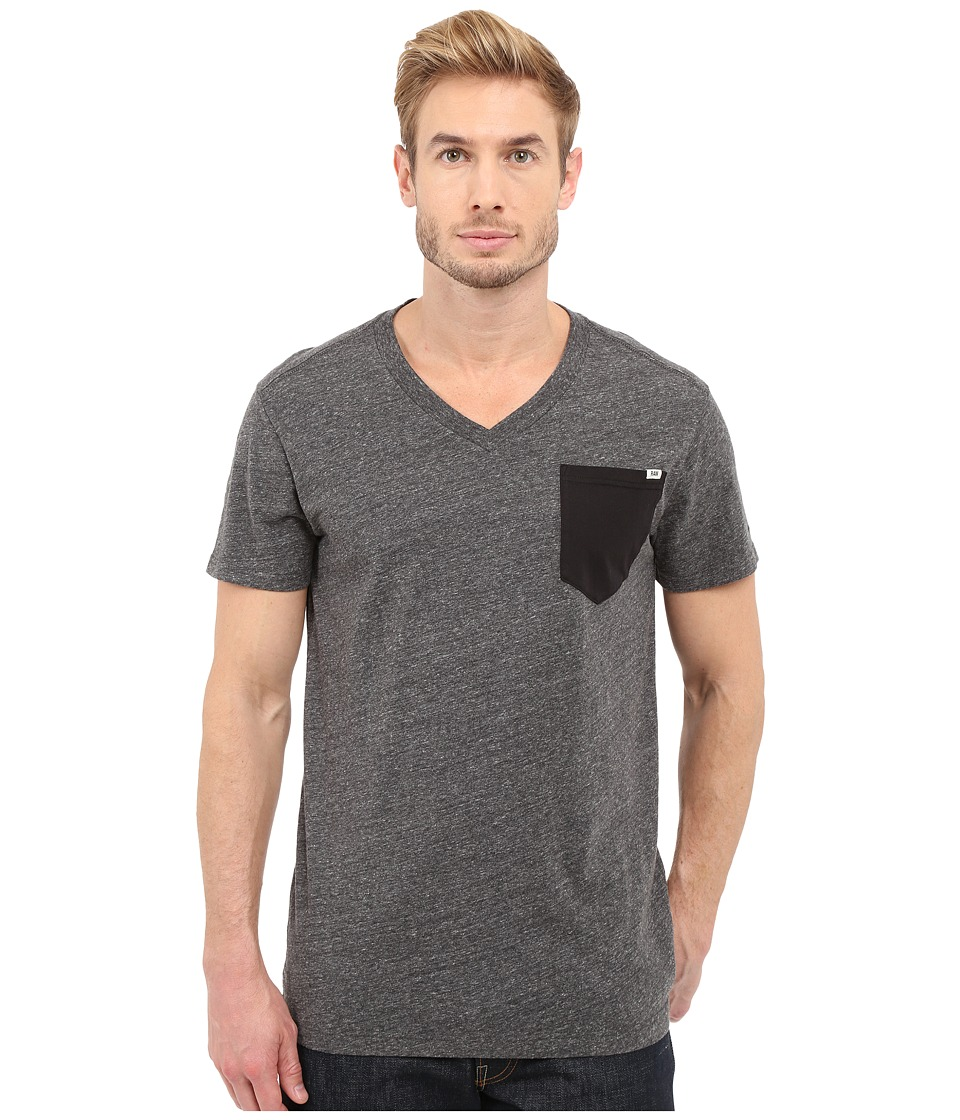 G-Star - Riban Short Sleeve V-Neck Pocket Tee in Premium Compact Jersey (Black Heather) Men's Short Sleeve Pullover