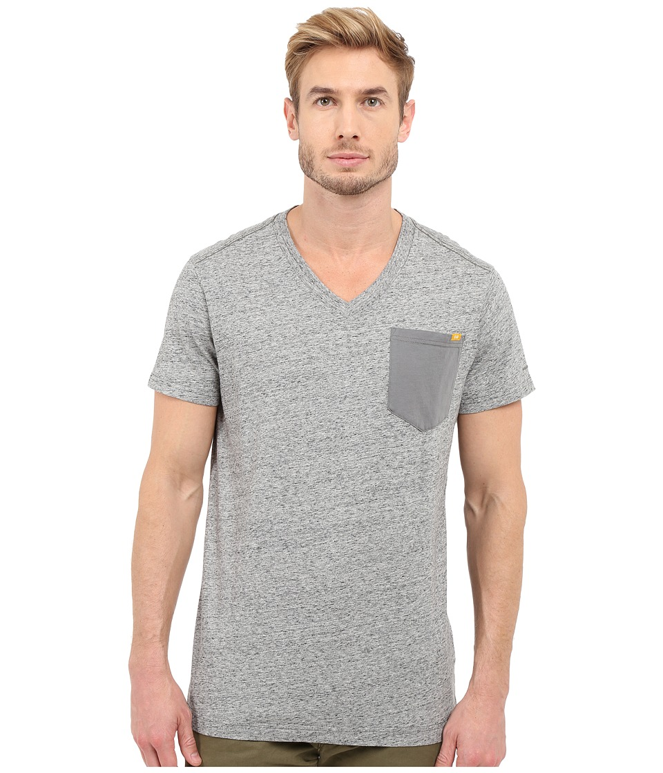 G-Star - Riban Short Sleeve V-Neck Pocket Tee in Premium Compact Jersey (Platinum Heather) Men's Short Sleeve Pullover