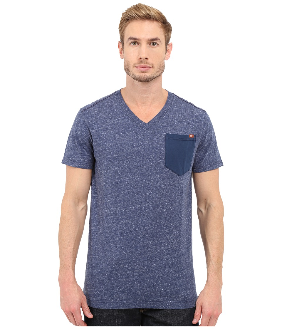 G-Star - Riban Short Sleeve V-Neck Pocket Tee in Premium Compact Jersey (Sapphire Blue Heather) Men's Short Sleeve Pullover