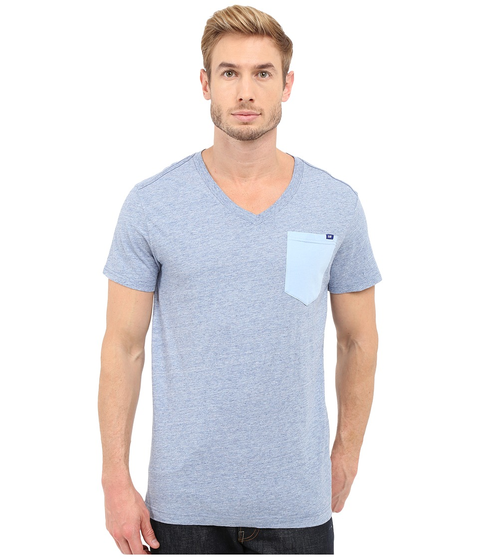 G-Star - Riban Short Sleeve V-Neck Pocket Tee in Premium Compact Jersey (Sea Heather) Men's Short Sleeve Pullover