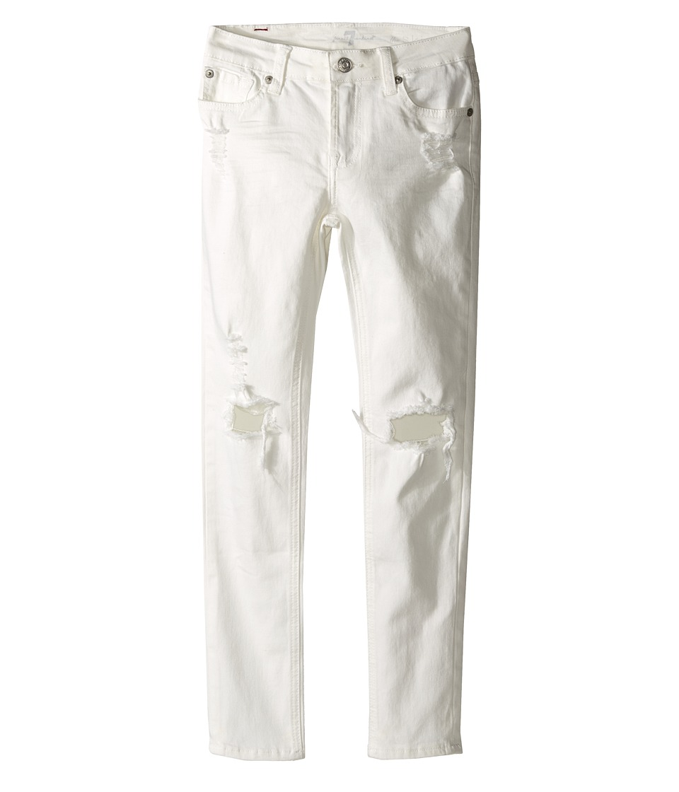 7 For All Mankind Kids - The Skinny Five-Pocket Distressed Denim Jeans in Ecru (Big Kids) (Ecru) Girl