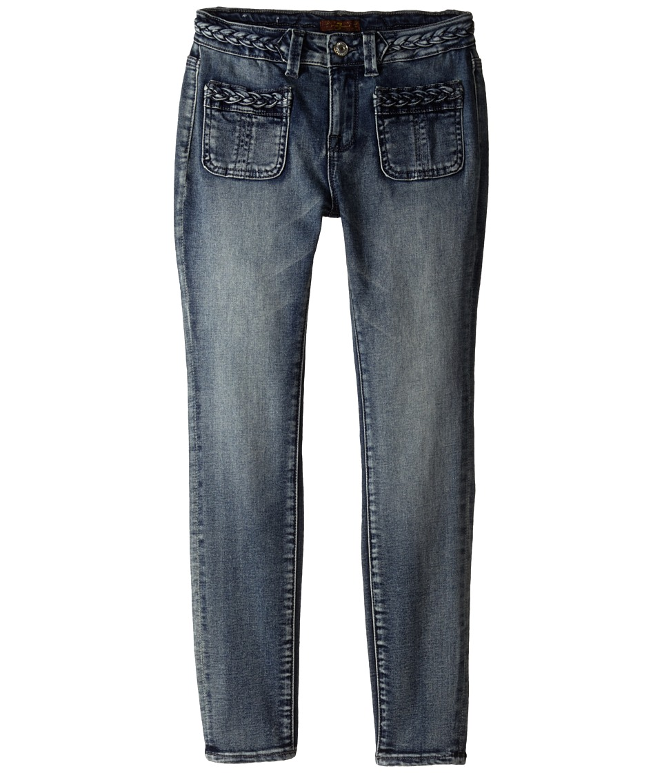7 For All Mankind Kids - The Skinny Braided Four-Pocket Jeans in True Heritage Blue (Big Kids) (True Heritage Blue) Girl's Jeans