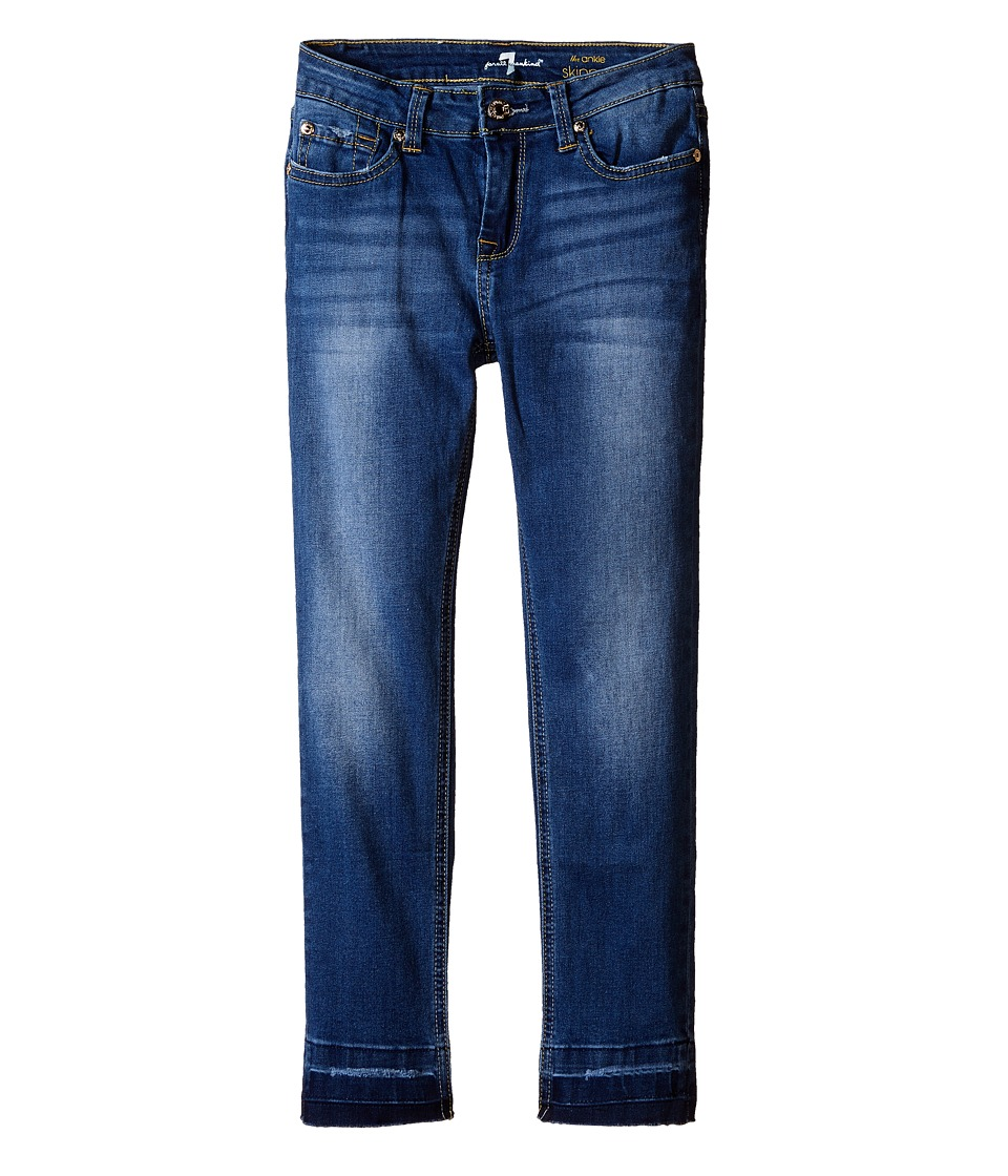 7 For All Mankind Kids - The Ankle Skinny Five-Pocket Jeans with Undone Hem in 4 Brilliant Azure (Big Kids) (4 Brilliant Azure) Girl