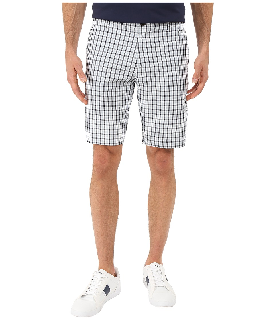 Lacoste - Woven Check Pattern Short (White/Navy Blue/Breeze) Men's Shorts