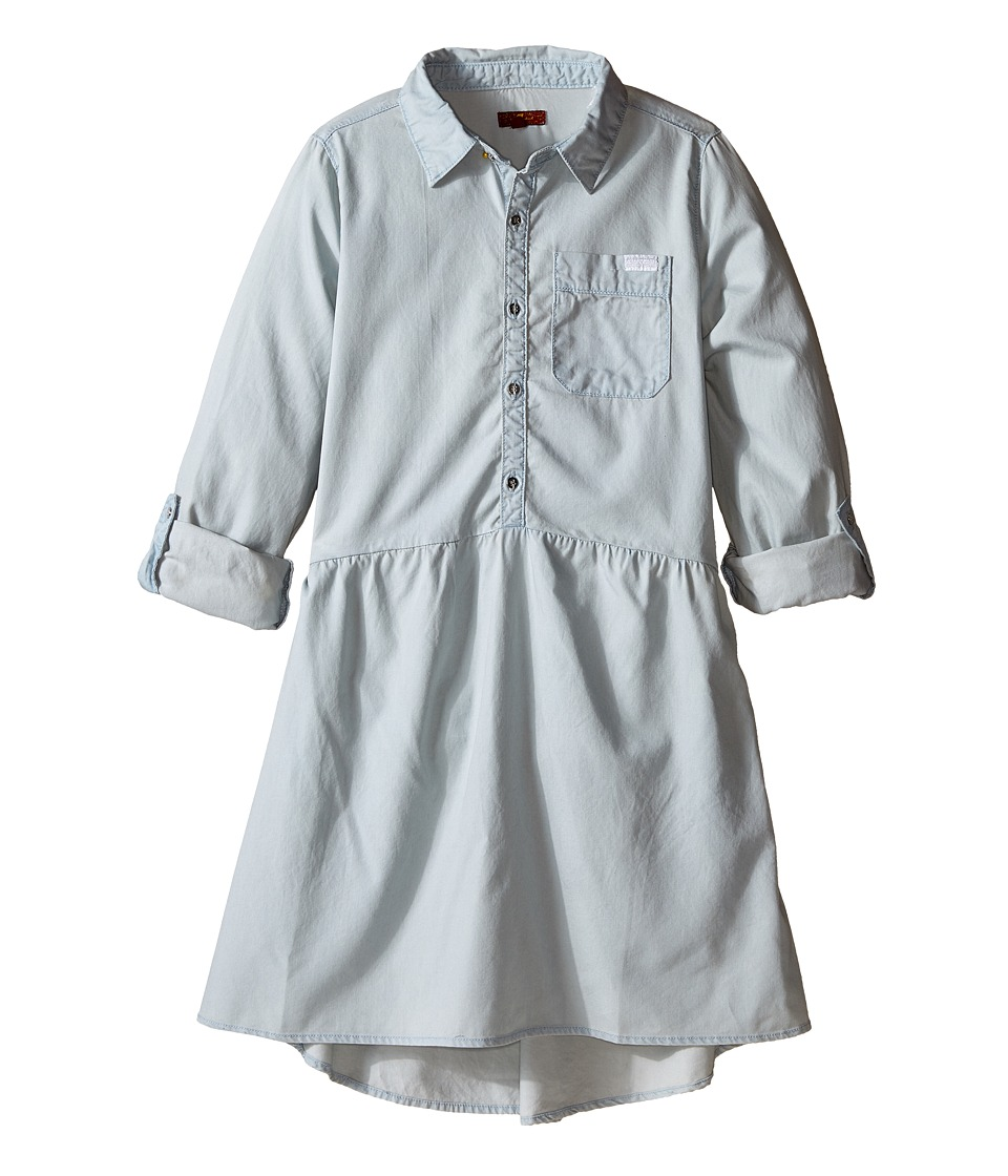 7 For All Mankind Kids - Collard Tencel Chambray Dress (Big Kids) (Bleach Out) Girl's Dress