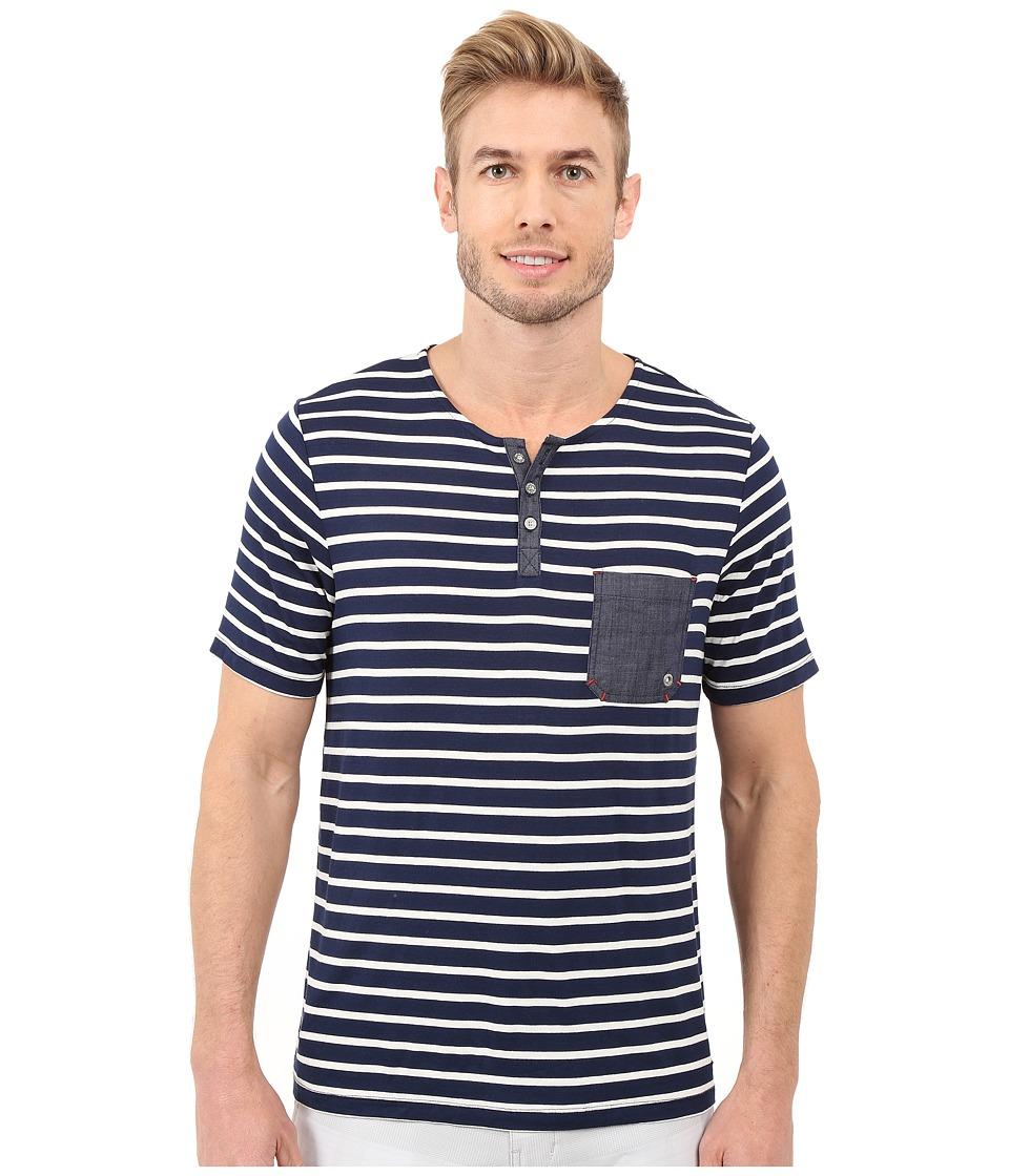 Sperry Top-Sider - Gunner Short Sleeve Henley (Ink Blue) Men's T Shirt