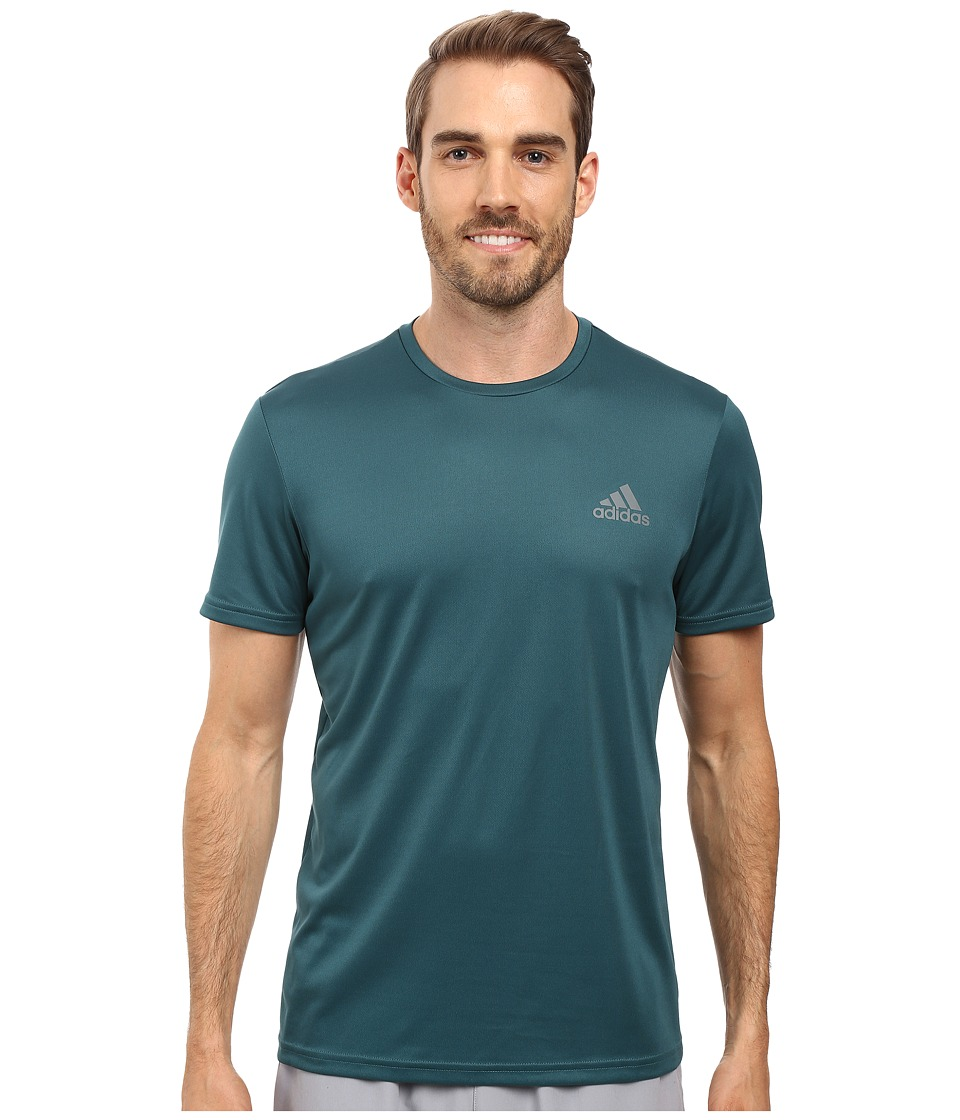 adidas - Essential Tech Crew Tee (Tech Green/Vista Grey) Men's T Shirt