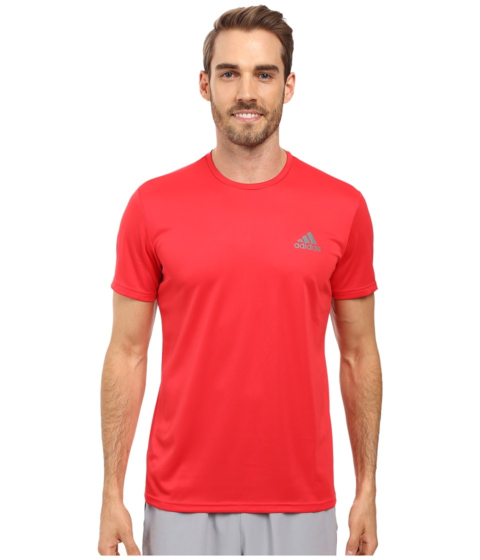 adidas Essential Tech Crew Tee (Ray Red/Vista Grey) Men