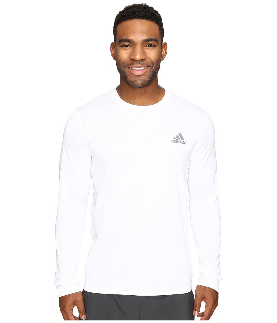 adidas - Essential Tech Long Sleeve Tee (White/Vista Grey) Men's Long Sleeve Pullover