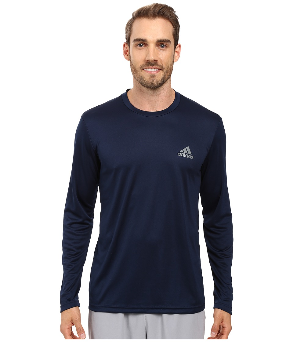 adidas - Essential Tech Long Sleeve Tee (Collegiate Navy/Vista Grey) Men's Long Sleeve Pullover