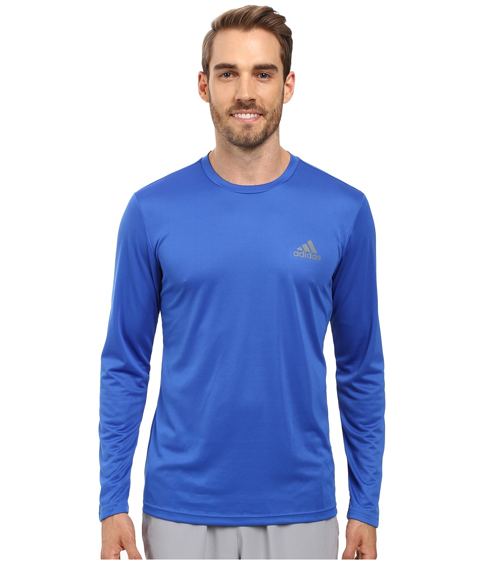 adidas - Essential Tech Long Sleeve Tee (Blue/Vista Grey) Men's Long Sleeve Pullover