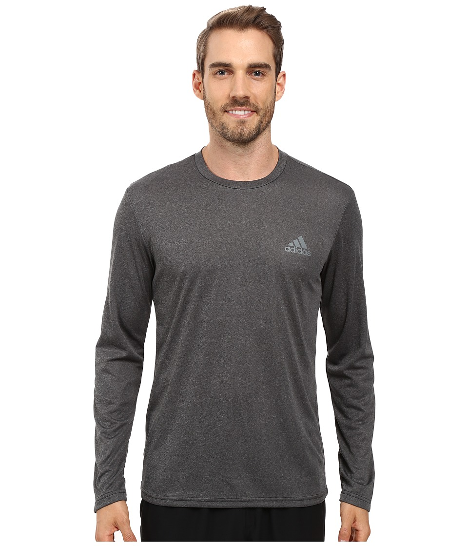 adidas - Essential Tech Long Sleeve Tee (Dark Grey Heather/Vista Grey) Men's Long Sleeve Pullover