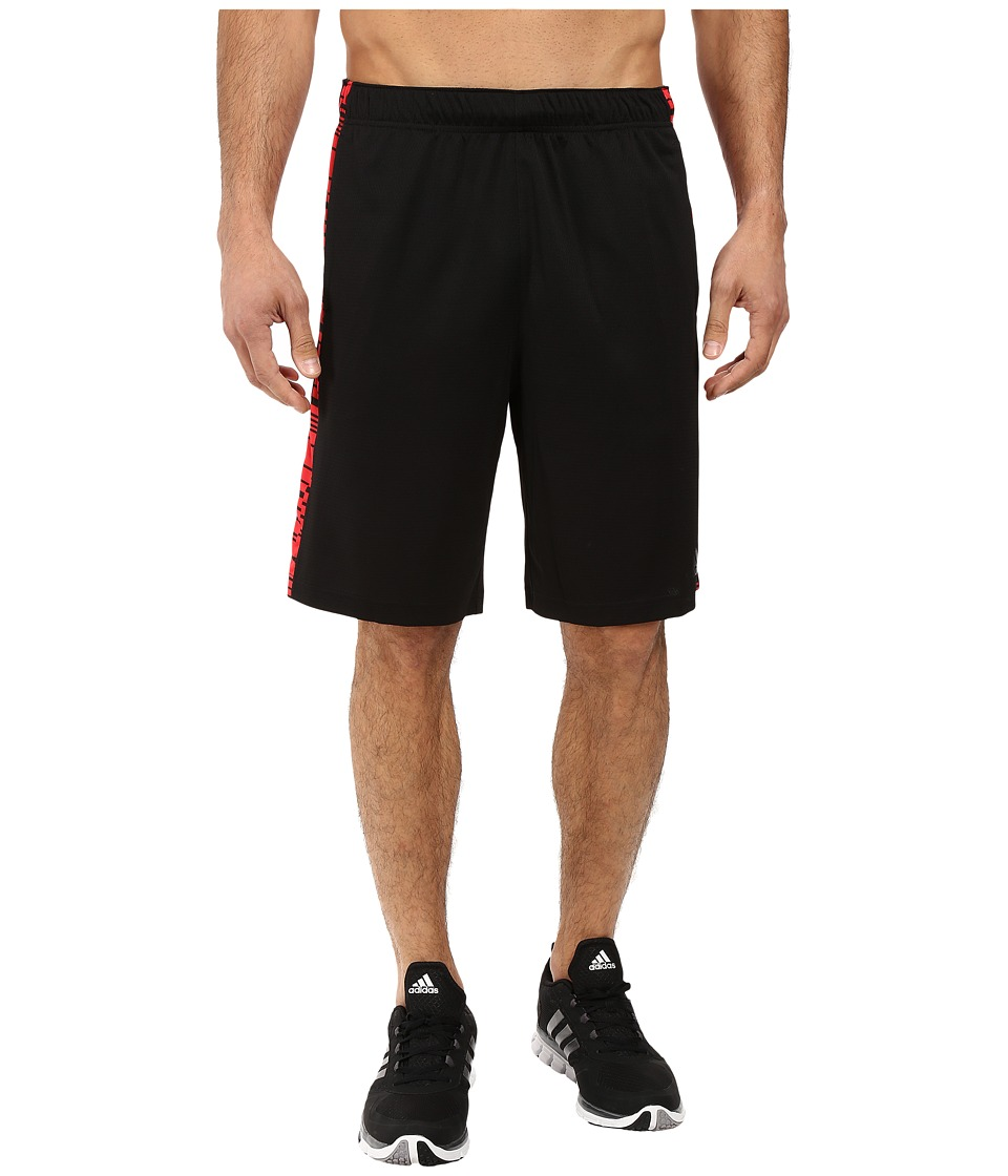 adidas - Essential 3-Stripes Shorts - Sport Glitch (Black/Ray Red/Black) Men's Shorts