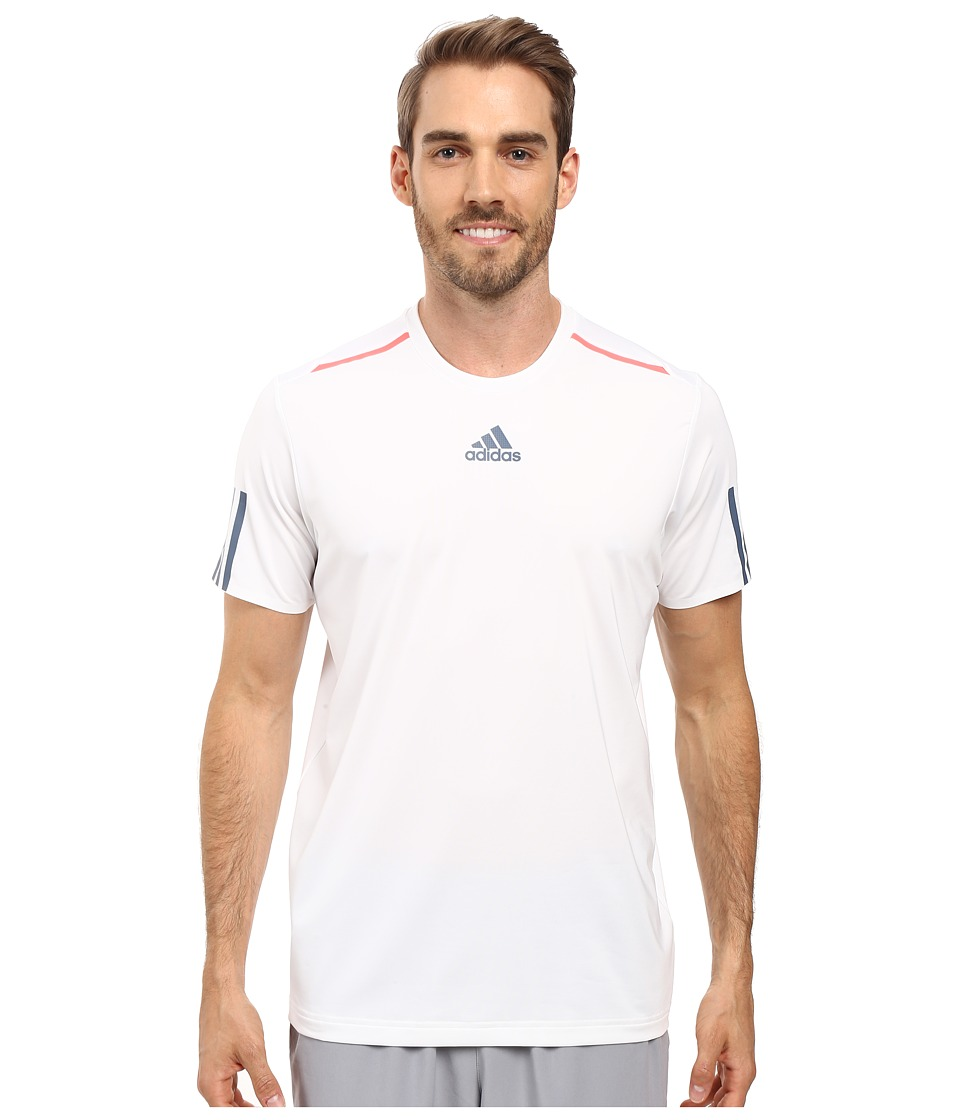 adidas - BARRICADE Tee (White/Tech Ink/Flash Red) Men's T Shirt