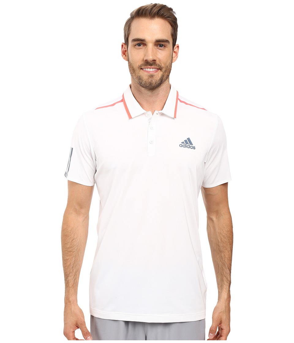 adidas - Barricade Polo (White/Tech Ink/Flash Red) Men's Short Sleeve Pullover