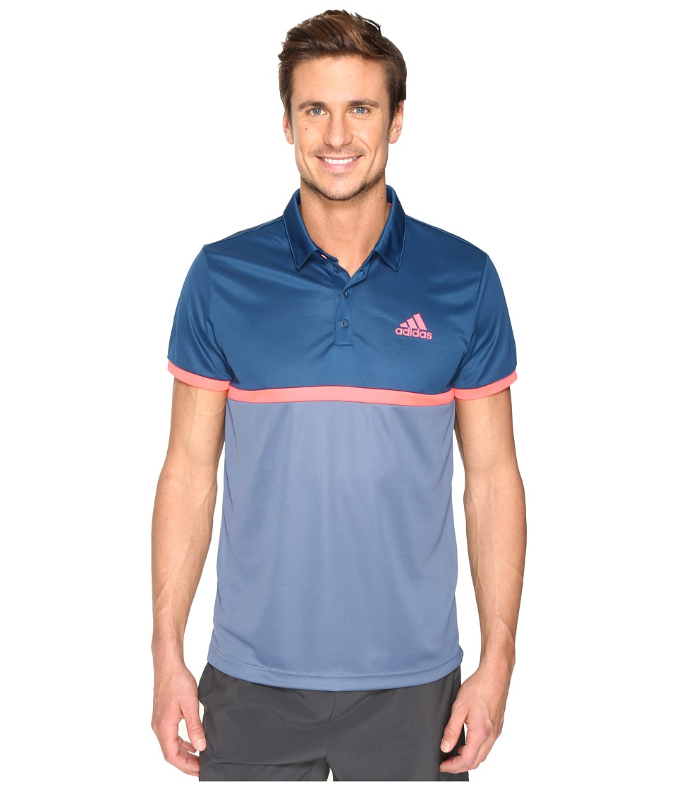 adidas - Court Polo (Tech Ink/Tech Steel/Flash Red) Men's Clothing