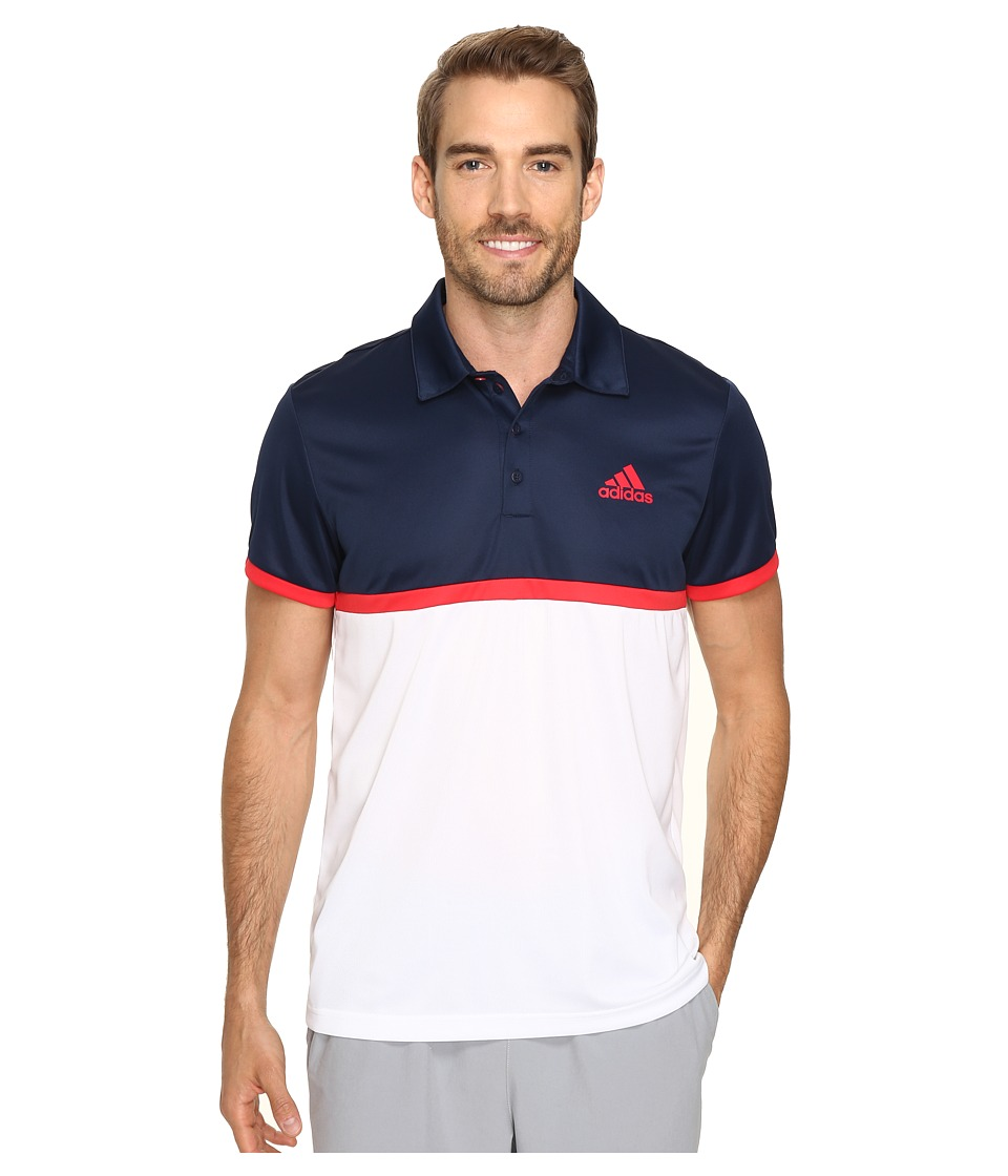 adidas - Court Polo (White/Collegiate Navy/Ray Red) Men's Clothing